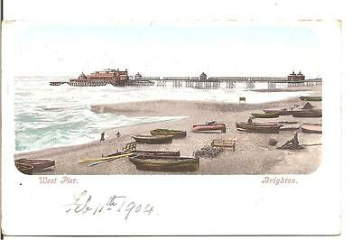 Lovely Early Vintage Postcard,west Pier,brighton,sussex,1904
