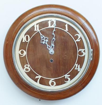 "Superb Antique English 11.5"" Dial Solid Oak Timepiece Dial Wall Clock"