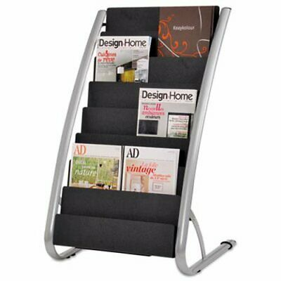 Literature 8-Pocket Rack, 22-7/8w x 19-3/4d x 36-5/8h, Black/Chrome (ABADDEXPO8)