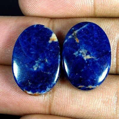 24.25Cts. 100% Natural Blue Sodalite Oval Pair Cabochon Gemstones Kalagems