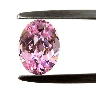 "Lab - Created Oval Checkerboard "" CZ ""  Faceted Stone 8X6mm Pink"