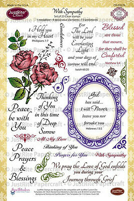 JUSTRITE CLEAR Stamps WITH SYMPATHY CR-03570 Everlasting Christian Scriptures