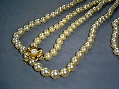 """2X Lovely Faux Pearl Necklaces 16"""" & 21"""" With 925 Sterling Silver Gilt Clasp"""