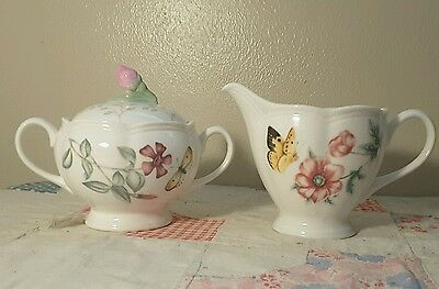 Sweet Lenox Butterfly Meadow Set Sugar and Creamer Bowl with Lid Original Set NM