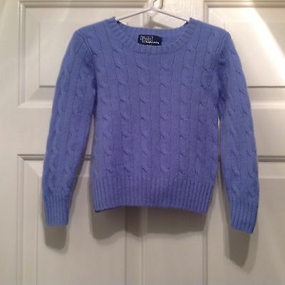 Polo Ralph Lauren Toddler Girl Blue/Purple Cable Knit Cashmere Sweater 4T