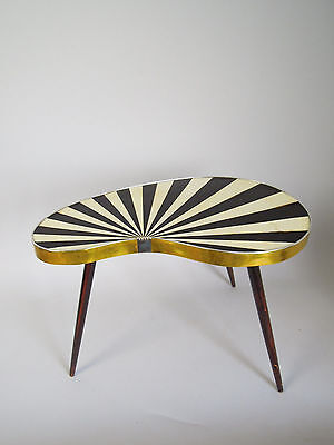 VINTAGE STRIPED SIDE TABLE DANISH MID CENTURY MODERN STRIPED PLANT STAND 50s 60s