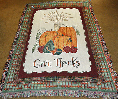 Autumn Celebration ~ Give Thanks Pumpkins Tapestry Afghan Throw