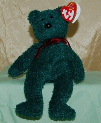 Ty Beanie Baby 2001 Holiday Teddy Green Retired 8 Inches Tall