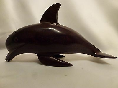 Hand Carved Hard Wood Dolphin Statue Figurine