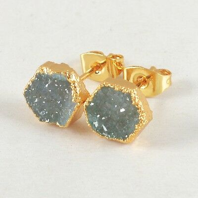 8mm Hexagon Agate Druzy Geode Stud Earrings Gold Plated B022986