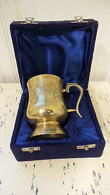 Antique BRASS Color CUP in Velvet Presentation Storage Case, Etched Design