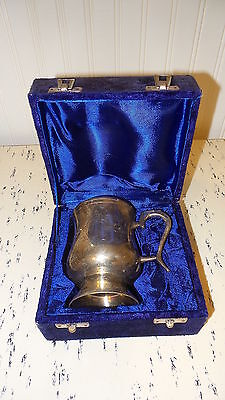 Antique SILVERPLATE CUP in Velvet Presentation Storage Case, Etched Design