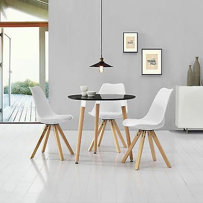 [en.casa] Dining table black with 3 Chairs white Ø80cm area Faux leather