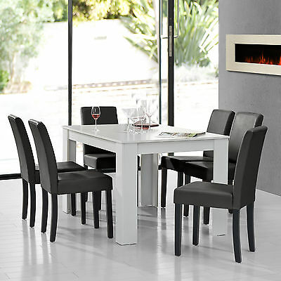 [en.casa] Dining Table white with 6 Chairs dark grey 140x90 area