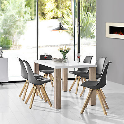 [en.casa] Dining table white with 6 Chairs grey 160x85cm area Faux leather