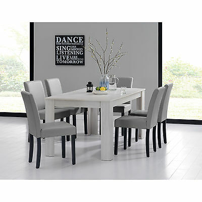 [en.casa] DINING TABLE 160x90 OAK WHITE + 6 CHAIRS Light grey DINING ROOM TABLE