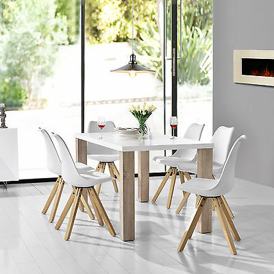 [en.casa] Dining table white with 6 Chairs 160x85cm area Faux leather