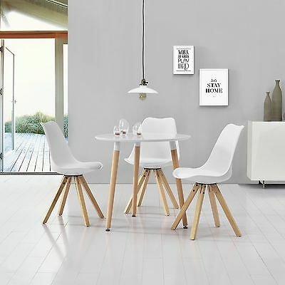 [en.casa] Dining Table with 3 Chairs white Ø80cm area Faux leather