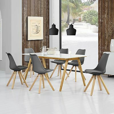 [en.casa] Dining Table Bamboo with 6 Chairs upholstered grey [180x80]