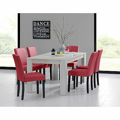 [en.casa] DINING TABLE 160x90 OAK WHITE + 6 CHAIRS RED ROOM WITH