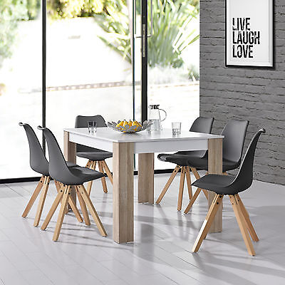 [en.casa] Dining table white with 6 Chairs grey 140x90cm area Faux leather