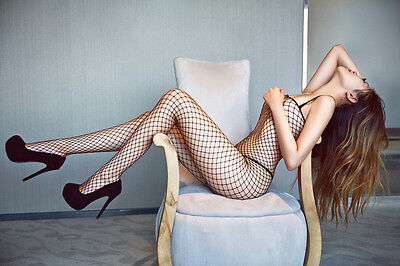 Sexy Open Crotch Crotchless Black Fishnet Bodystocking Lingerie 125