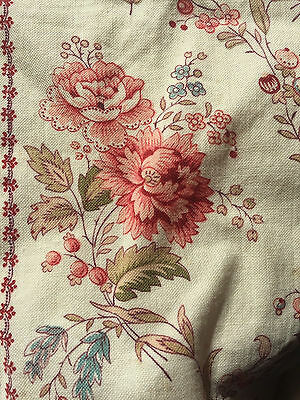 """Beautiful Antique French fabric panel madder c1880 24""""x 34"""""""