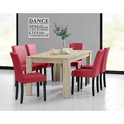 [en.casa] DINING TABLE 160x90 LIGHT OAK + 6 CHAIRS RED ROOM WITH