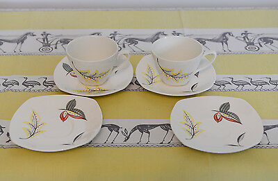 Midwiner Stylecraft Fashion Tableware Autumn Leaf Coffee Cups and Sacuers - RARE