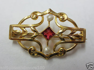 "Antique 10KT Solid Yellow Gold Pin/Brooch 1"" x 5/8"""