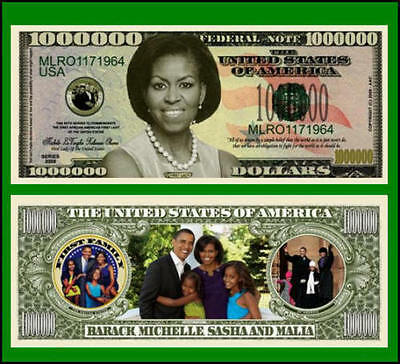 5 Factory Fresh Novelty Michelle Obama Million Dollar Bills