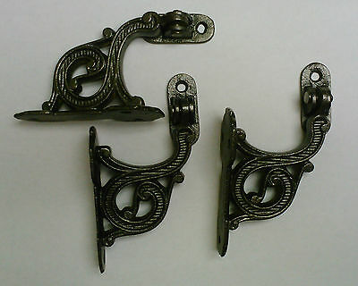 """3 Stair Hand Rail Holders With Movable """"Arm""""  Cast Iron Vintage"""