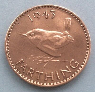 1943 King George Vi Farthing (Quarter Of A Penny) Coin