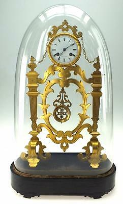 Amazing French Skeleton Mantel Clock - Bronze Ormolu 8 Day Mantle Clock + Dome