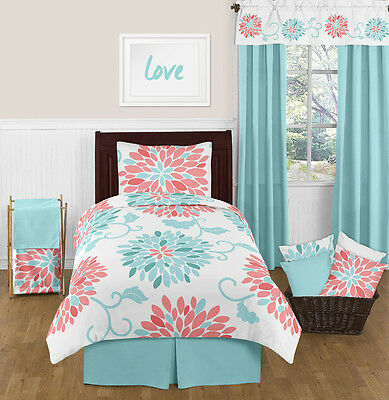 Childrens Girls Turquoise  and Coral Flower Twin Bedding Set Sweet Jojo Designs