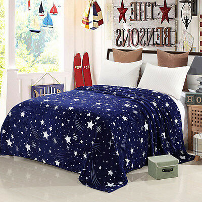 Soft Microplush Throw Blanket Rug Plush Fleece Sofa Bed Decor Blue Star Sky