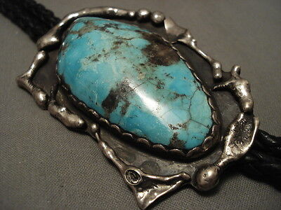 Colossal Vintage Navajo Bisbee Turquoise Silver Bolo Tie