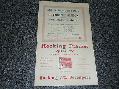 RUGBY UNION PROGRAMME : PLYMOUTH ALBION  v  OLD HABERDASHERS  1934/5  PRE-WAR