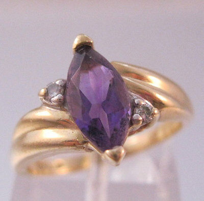 Vintage 1ct Marquis Amethyst 10k Yellow Gold Solitaire Ring with Diamond Accents