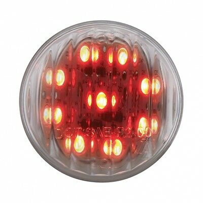 "LED light 2"" clear 9 red diode clear lens flat clearance marker lite each"