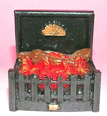Log Fire Grate Glowing Embers with Bulb, Dolls House Miniature Fireplace
