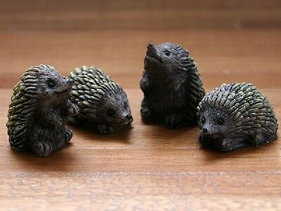 4 Hedgehogs, Dolls House Miniatures, 1.12 Scale Animals & Pets