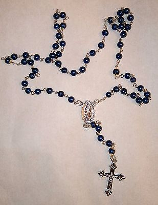 Christian Blue Rosary Beads Necklace / Jesus / Crucifix In Gift Box