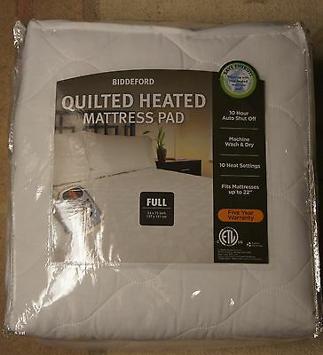 New Biddeford - Quilted Heated Mattress Pad - Full- Save Energy!