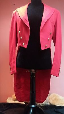 Antique Vintage Red Wool Tails Fox Hunting Coat Collector Brass Buttons