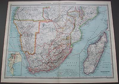 1908 Map South Africa Industries Communications Madagascar Cape Peninsula