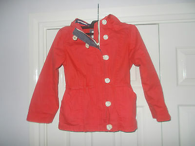 Joules - Girls Rain Coat Jacket - Coral Red - Nautical  - Age 7 years