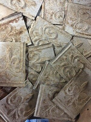 Antique Chippy Shabby Reclaimed Ceiling Tin Craft Salvage Fleur De Lis Lot of 14