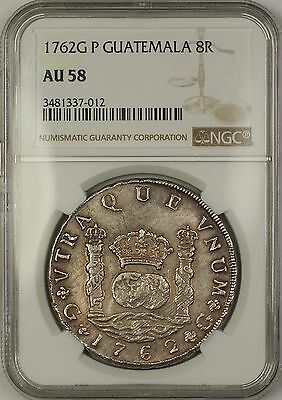 1762G P Guatemala 8R Eight Reales Silver Coin NGC AU-58 *Quite Scarce This Nice*