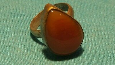 BEAUTIFULLY ROMAN style SILVER ring with stone/ glass insert